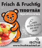 Teddybär Fruchtcocktail wünscht einen Guten Rutsch ins Neue Jahr